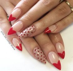 Beautiful Valentines Nail Designs You'll Absolutely Love - Nail Design Ideas, Gallery of Best Nail Designs Valentine's Day Nail Designs, Acrylic Nail Designs, Nails Design, Acrylic Tips, Red Acrylic Nails, Red Nails, Love Nails, Pretty Nails, Nail Art Saint-valentin
