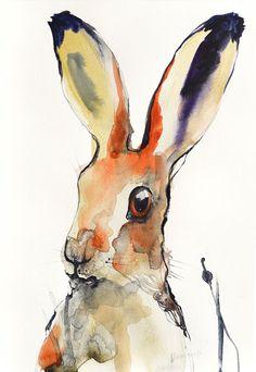 Hare  original abstract colorful watercolor by AlisaAdamsoneArt