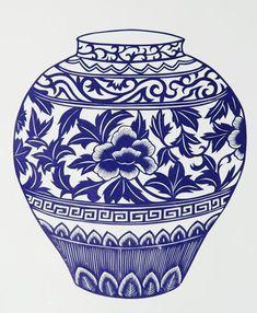 chinese vase - inspiration for scrolls and design of the invitation Blue Pottery, Pottery Vase, Ceramic Pottery, Blue And White China, Blue China, Porcelain Vase, Fine Porcelain, Ceramic Painting, Ceramic Art