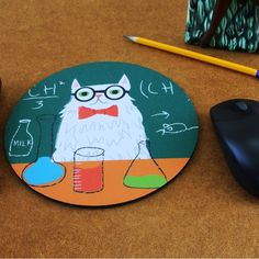 Handmade Gifts | Independent Design | Vintage Goods Chemistry Cat Mousepad - Tech Gear