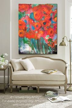 Abstract Painting Floral Red big painting by RayaNewOrleansArt
