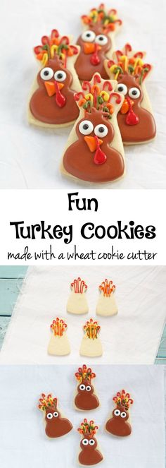 Fun Turkey Cookies - or Funny Turkeys Turkey Cookies, Fall Cookies, Cute Cookies, Sugar Cookies, Funny Turkey, Paint Cookies, Thanksgiving Cookies, Royal Icing Decorations, How To Make Cookies