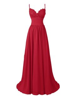R&J Women's A-Line Floor Length Straps Sweetheart Long Lace Chiffon Prom Dress Dark Red Size 2