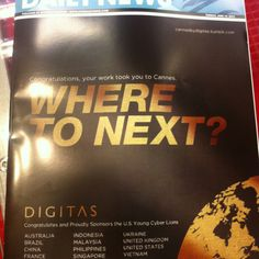 "Digitas ""Where To Next"" Add in Cannes Lions today"