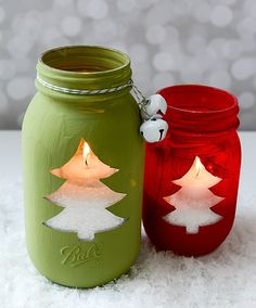 Mason Jar Holiday Crafts - Christmas Tree Cut Out Votive