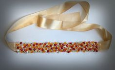 Handmade belt with crystals and pearls