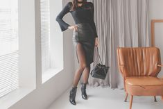 [먼데인 레더 스커트] Tight Dresses, Supermodels, Leather Skirt, Tights, High Heels, Korean, Asian, Park, Skirts