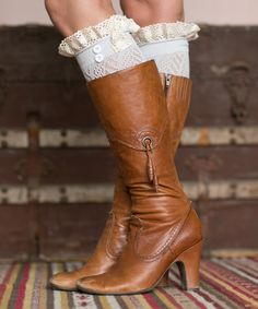 Light Gray Lace Pointelle Boot Cuffs + Heeled Boots