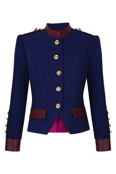 Tartan military inspired wool jacket with leather details www.lacondesa.es  La Condesa — Condesa Groupie