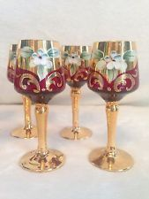 SET OF 6 Vintage Red Ruby Gold EGERMANN Bohemian Czech Glass - Cordial Glasses