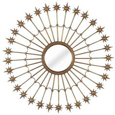 Dot & Bo North Star Mirror (1.580 VEF) ❤ liked on Polyvore featuring home, home decor, mirrors, mirror, decor, gold, circle, antique gold mirror, star home decor and star mirror