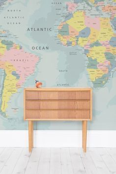After A Playful Yet Educational Wallpaper Design For Your Little One This World Map Wall
