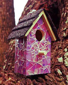 Purple Pink Paradise Mosaic Glass Birdhouse. $119.99, via Etsy.