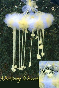 Lemon butterfly nursery mobile, Gender neutral home decor dreamcatcher