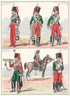 French; Imperial Guard, Chasseurs a Cheval, 1857 from Hector Large's Le Costume Militaire Vol III