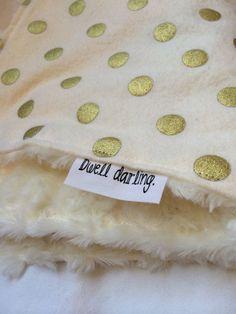 Gold Baby lovey Blanket, Classy, Modern, Gold Nursery Gold Polka Dot Lovey, Security Blanket, Gold Polka-Dots Cream Flannel, IVORY minky on Etsy, $14.00