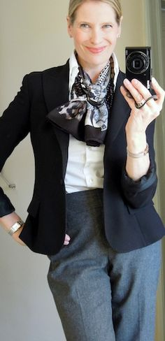 Such great, simple style; same scarf worn in a different way.