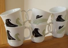 Set of 6 Vintage Black Orchid Mugs from Corning USA by lookonmytreasures on Etsy