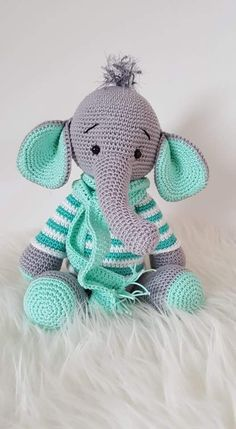 Baby Knitting Patterns Toys My krissie dolls Knitting Patterns Toys An Elephant in a green sweater:) Knitting Patterns Toys This is so cute,hope I can make it! Amigurumi T-Rex Free Pattern 1 - Salvabrani Crochet Pattern - Frida the Fr Elli-Phant Elli-Phan Crochet Animal Patterns, Stuffed Animal Patterns, Crochet Patterns Amigurumi, Baby Knitting Patterns, Crochet Dolls, Amigurumi Doll, Crochet Animals, Crochet Elephant Pattern Free, Afghan Patterns