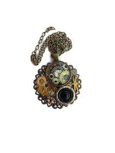 collier steampunk libellule sur chaîne maillons métal bronze : Collier par…