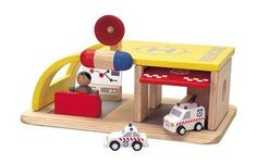 Plan City Rescue Center by Plan Toys. $27.90. From the Manufacturer                Plan City Rescue Center set comes complete with its own ambulance, rescue squad car and first aid attendant. The ambulance is spring released at the push of the button. This toy is an ideal way for children to create stories of heroes and adventure.                                    Product Description                3 years & up. The rescue squad travels to the city or the town helping peop...