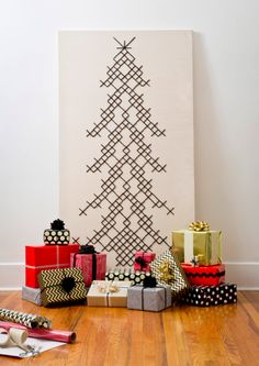 Giant cross-stitched christmas tree