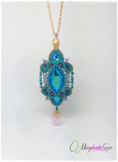 Ophelia handmade soutache pendant blue/green shade by 75marghe75