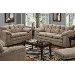 POUNDEX Furniture - 2 Piece Contemporary Microfiber Sofa Set In Mineral Finish - 47F7819B