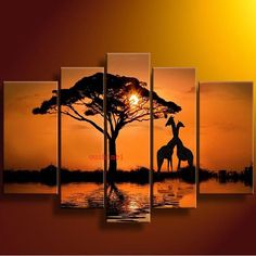 Hand-painted Wall Art Sunrise Oil Painting On Canvas Home Decor Modern Pictures For Living Room Giraffe Animal Tree View Paint