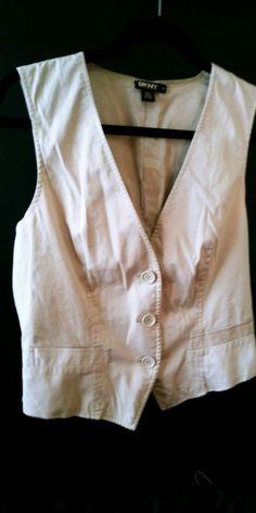 Donna Karan DKNY Womens Vest Beige Cotton Size Large 10    eBay