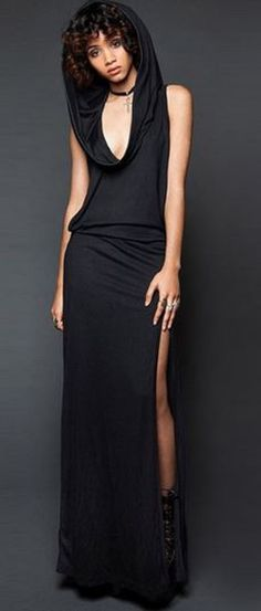 Love Love LOVE the Hood! Black Hooded Cut Out Maxi Dress #Sexy #Black #Side #Slit #Hooded #BodyCon #Maxi #Dress