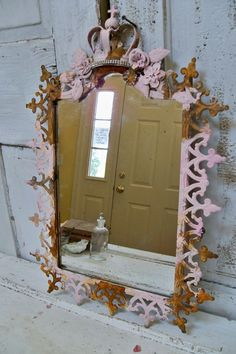 Large pink Ornate framed mirror French by AnitaSperoDesign on Etsy, $145.00
