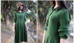 Loose Fitting Long Maxi Dress - Summer Dress in Green - Long Sleeve Cotton Sundress for Women Girls Sundress pastor gift  girls dress