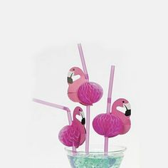 Flamingo rietjes. Verpakt per 12