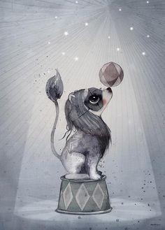 Mrs Mighetto 'Circus Mighetto' Dear Lion watercolour art print - 50x70cm - norsu interiors - 1