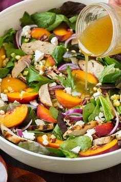 Peach Salad with Grilled Basil Chicken and White Balsamic-Honey Vinaigrette | Cooking Classy
