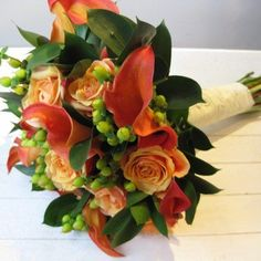 Burnt orange calla Lilly and rosa bouquet