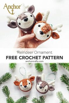 What an adorable reindeer crochet ornaments desig. - Monique Verö - What an adorable reindeer crochet ornaments desig. What an adorable reindeer crochet ornaments designed by So cute, everyone will love them! Made with Anchor Creativa - Beau Crochet, Crochet Mignon, Cute Crochet, Crochet Deer, Crochet Santa, Crochet Towel, Crochet Angels, Crotchet, Crochet Yarn