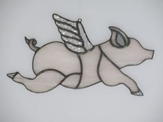 Stained Glass Pig with Wings Suncatcher FREE by MechanicalGlass