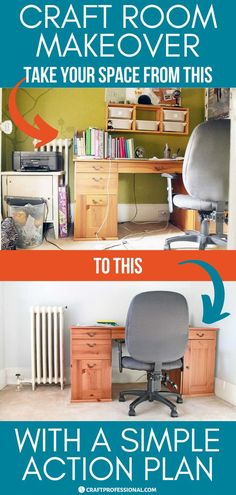 Give your craft room a makeover with this simple action plan. Here's how to create an organized creative workspace with plenty of craft storage and a room to work on your creative projects. #craftroommakeovers #craftroom #craftroomorganization #craftprofessional