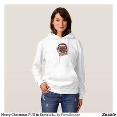 Merry Christmas PUG in Santa`s hat illustration Hoodie Halloween Fashion, Cute Halloween, Fleece Hoodie, Hooded Sweatshirts, American Apparel, Manga Raglan, Rainbow Logo, Winter Hoodies, White Hoodie