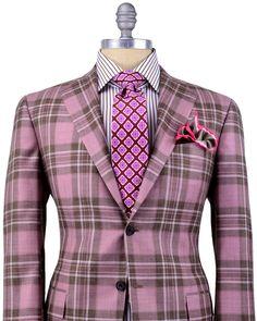 Kiton | Salmon Plaid Sportcoat | Apparel | Men's