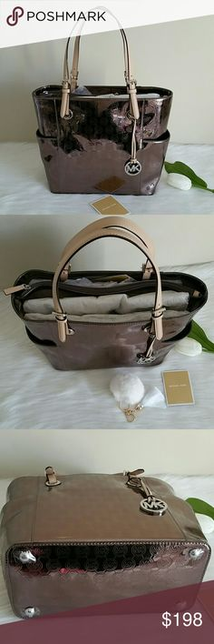"""LOWEST NEW AUTHENTIC MICHAEL KORS JET SET TOTE BAG Brand new authentic michael kors jet set tote bag.  Color Nickel. Perfect for work / school.  Height 11"""" Width bottom 12"""" Width Top 15"""" Depth 6"""" Smoke and pet free home.  Fast shipping + extra gift + Pom Keychain.  Have a blessed day.   I don't trade hun. Thank you. Michael Kors Bags Totes"""