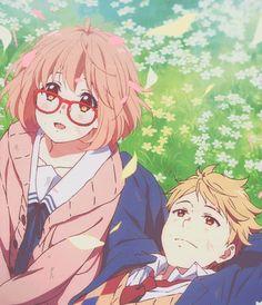 Image about gif in 💗🌸👓Kyoukai no Kanata🌸(境界の彼方 )🌸💗 by Andreea Dinu Manga Anime, Otaku Anime, Anime Art, Anim Gif, Mirai Kuriyama, Tamako Love Story, Kyoto Animation, Cute Anime Couples, Anime Ships