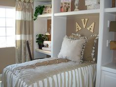 Love the built-ins surrounding the bed!
