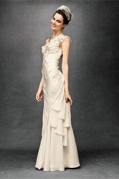 Ribboned Silk Gown at BHLDN