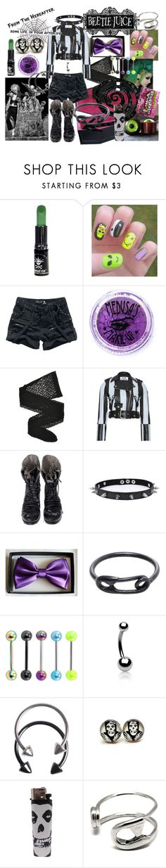 punk beetlejuice by rebel-babe on Polyvore featuring Acne Studios, Wolford, Augusta, Maria Black, Trend Cool, Carrie K., Pieces, Bling Jewelry, Medusa's Makeup and Manic Panic NYC
