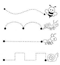 bugs trace line worksheet | Crafts and Worksheets for Preschool,Toddler and Kindergarten