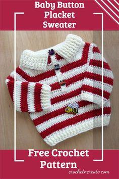 Free crochet baby placket sweater sweet little pattern on crochetncreate, make for gifts. Crochet Sweaters, Crochet Cardigan, Baby Sweaters, All Free Crochet, Double Crochet, Baby Dresses, Baby Outfits, Crochet Baby Clothes, Free Baby Stuff