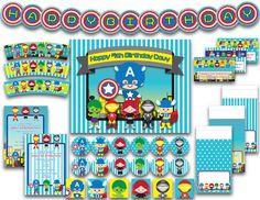 Printable Birthday Party Pack - Superhero Avenger Kids Inspired by Captain America Hulk Thor Iron Man Black Widow Turquoise. $9.99, via Etsy.